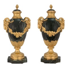 Pair of French 19th Century Louis XVI Style Vert Patricia and Ormolu Lidded Urns