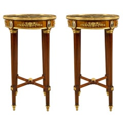 Pair of French 19th Century Louis XVI Style Wood, Ormolu and Marble Side Tables