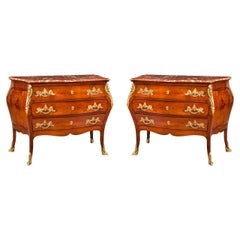 Pair of French 19th Century Mahogany, Gilt and Red Marble Chest of Drawers