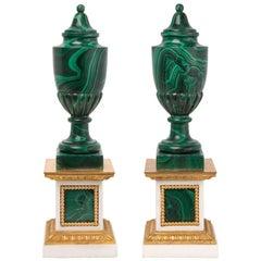 Pair of French 19th Century Malachite and Ormolu Decorative Urns