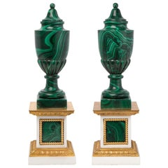 Pair of French 19th Century Malachite and Ormolu Decorative Urns