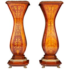 Pair of French 19th Century Marquetry Inlaid Large Pedestals