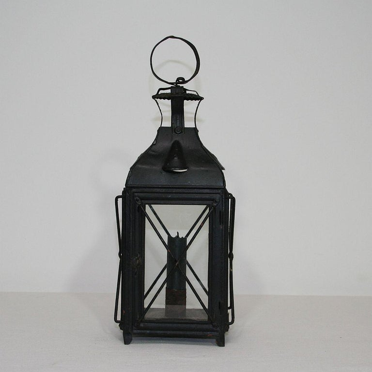 French Provincial Pair of French, 19th Century Metal Lanterns For Sale