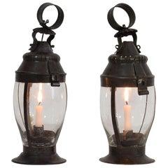 Pair of French, 19th Century Metal Lanterns