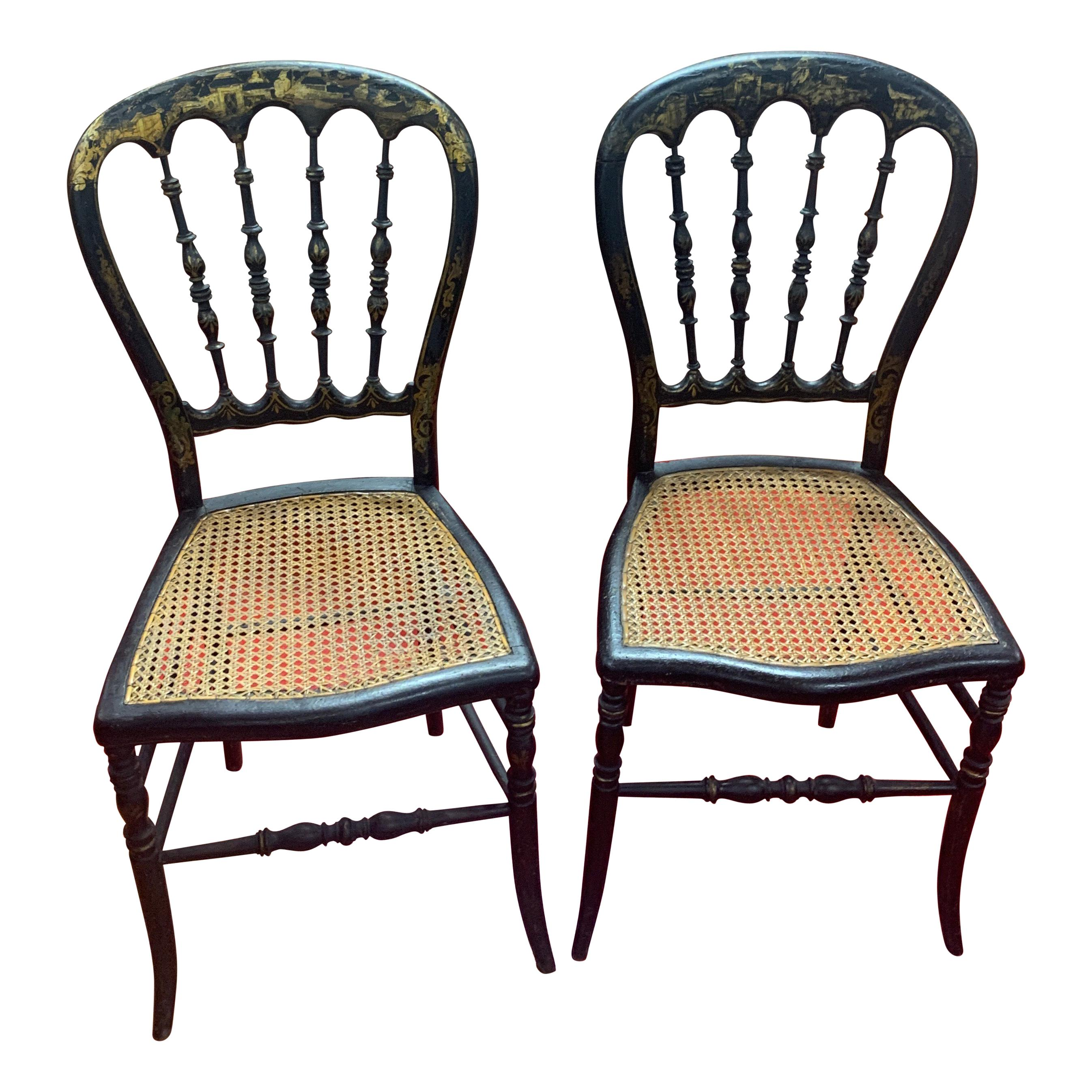 Pair of French 19th Century Napoleon III Cane Seat Chairs