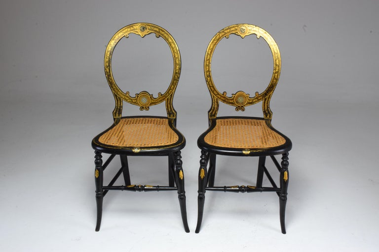 Pair of French 19th Century Napoleon III Chairs For Sale 1