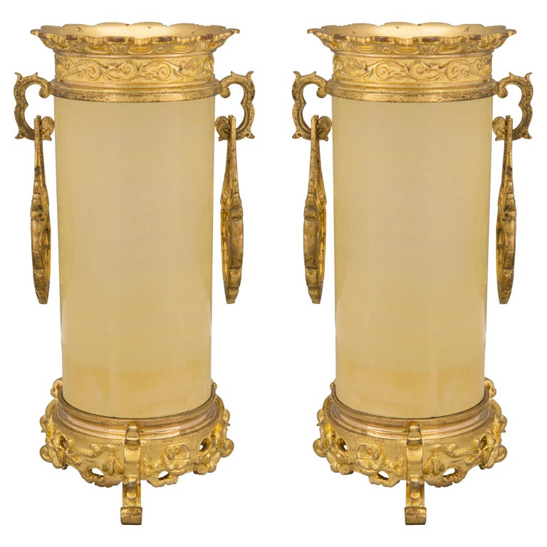 Pair of French 19th Century Napoleon III Period Alabaster and Ormolu Vases For Sale