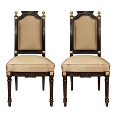 Pair of French 19th Century Napoleon III Period Louis XVI Style Side Chairs