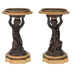 Pair of French 19th Century Napoleon III St. Patinated Bronze and Ormolu Tazzas
