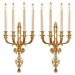 Pair of French 19th Century Neo-Classical Four Arm Ormolu Sconces