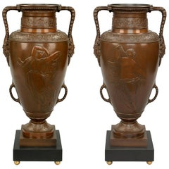 Pair of French 19th Century Neoclassical Patinated Bronze Marble and Ormolu Urns