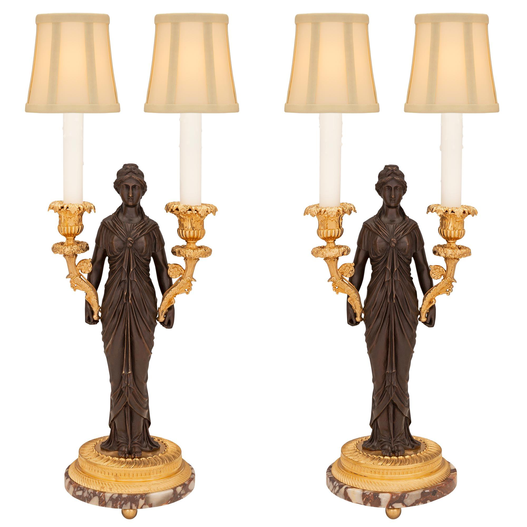 Pair of French 19th Century Neo-Classical St. Bronze, Ormolu, and Marble Lamps