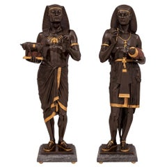 Pair of French 19th Century Neoclassical Style Egyptian Revival Statues