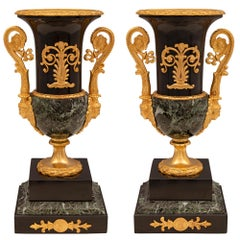 Pair of French 19th Century Neo-Classical St. Marble and Ormolu Urns