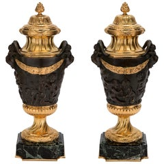 Pair of French 19th Century Neo-Classical St. Ormolu and Patinated Bronze Urns