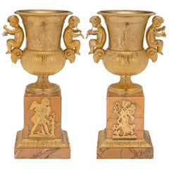 Pair of French 19th Century Neoclassical Style Ormolu and Sienna Marble Urns