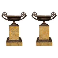 Pair of French 19th Century Neo-Classical St. Patinated Bronze and Marble Tazzas