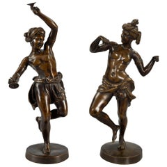 Pair of French 19th Century Neoclassical Style Patinated Bronze Statues