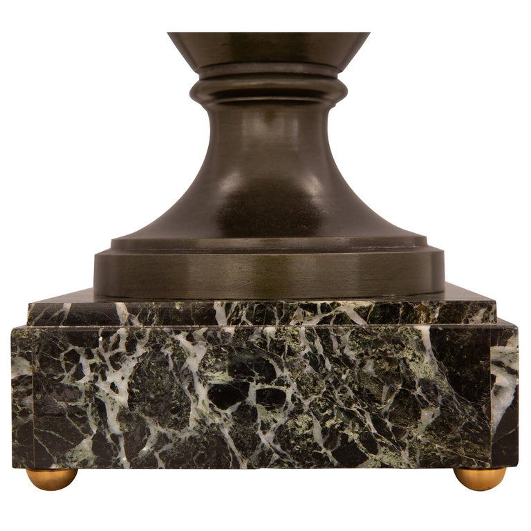 Pair of French 19th Century Neo-Classical St. Patinated Bronze Urns Lamps For Sale 5