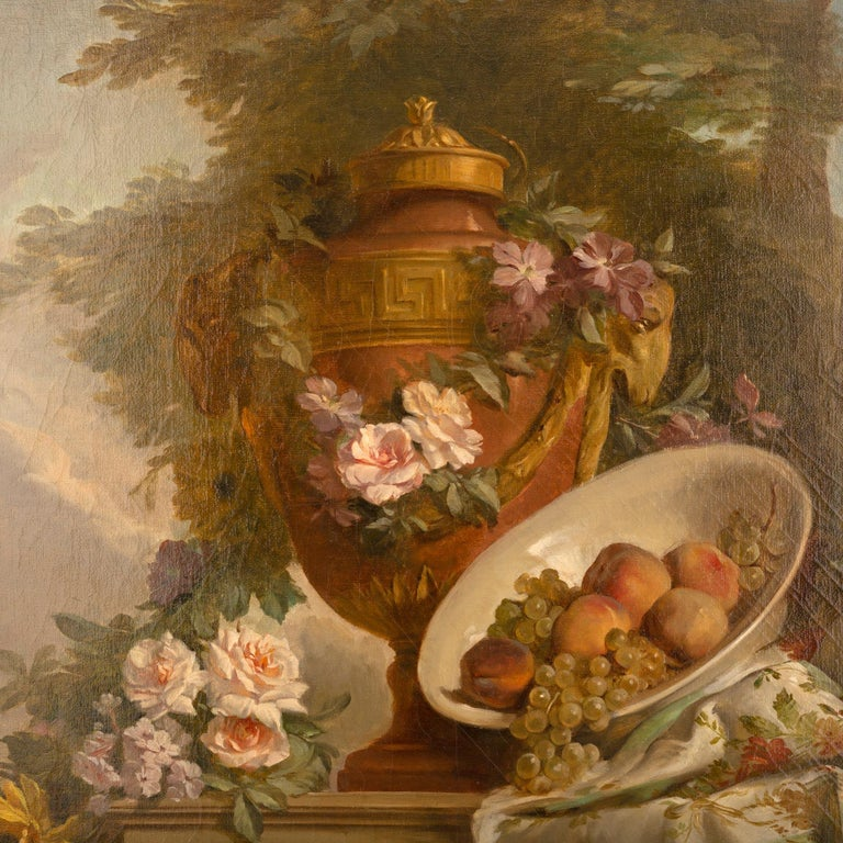 Neoclassical Pair of French 19th Century Neo-Classical St. Still Life Oil on Canvas Paintings For Sale