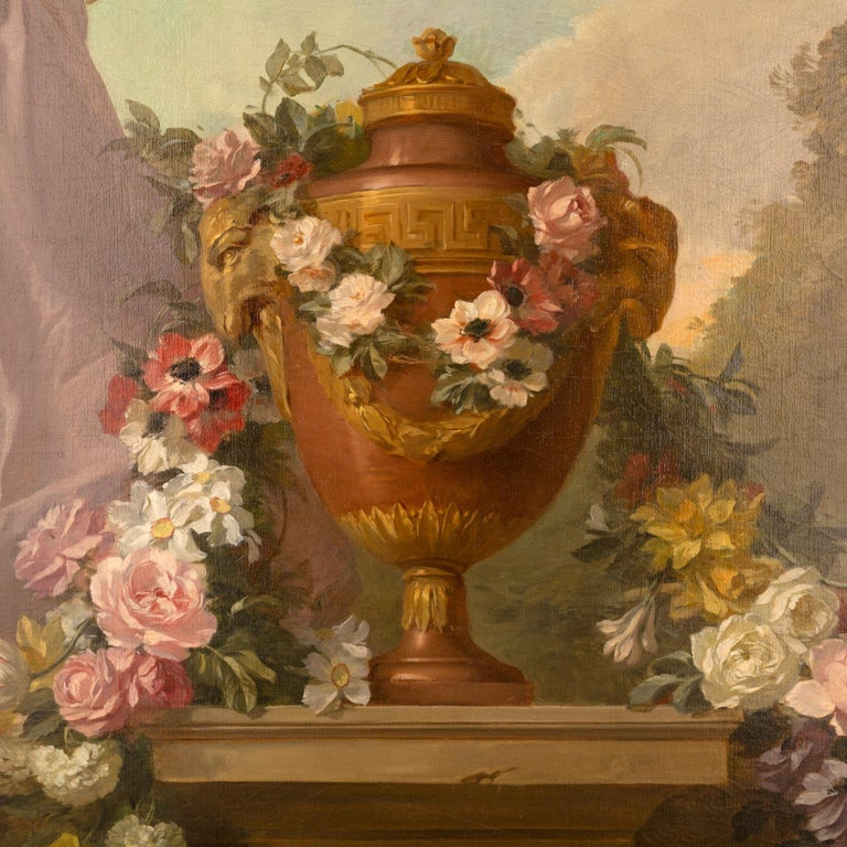 Pair of French 19th Century Neo-Classical St. Still Life Oil on Canvas Paintings In Good Condition For Sale In West Palm Beach, FL