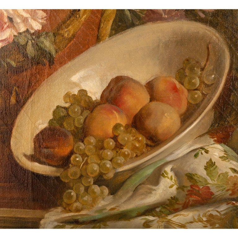 Pair of French 19th Century Neo-Classical St. Still Life Oil on Canvas Paintings For Sale 1