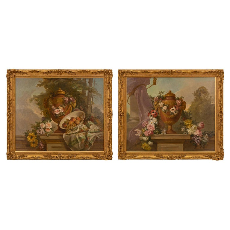 Pair of French 19th Century Neo-Classical St. Still Life Oil on Canvas Paintings For Sale