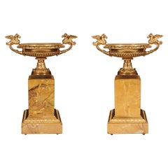 Pair of French 19th Century Neo-Classical Style Ormolu and Marble Tazzas