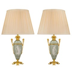 Pair of French 19th Century Neo-Grec St. Porcelain Lamps