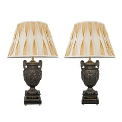 Pair of French 19th Century Neo-Greek Style Patinated Bronze and Gilt Lamp
