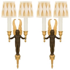 Pair of French 19th Century Neoclassical Bronze and Ormolu Sconces