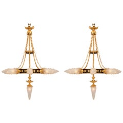 Pair of French 19th Century Neoclassical Bronze, Ormolu and Glass Chandeliers