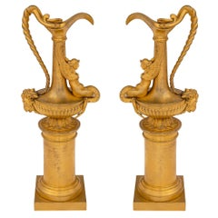 Pair of French 19th Century Neoclassical Ormolu Ewers