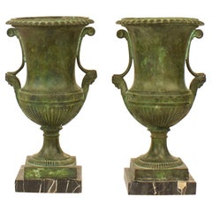 Pair of French 19th Century Neoclassical Patinated Bronze Urns or Krater Vases