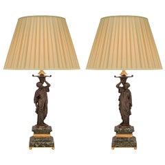 Pair of French 19th Century Neoclassical St. Bronze, Ormolu and Marble Lamps