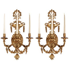 Pair of French 19th Century Neoclassical St. Ormolu Three-Arm Sconces