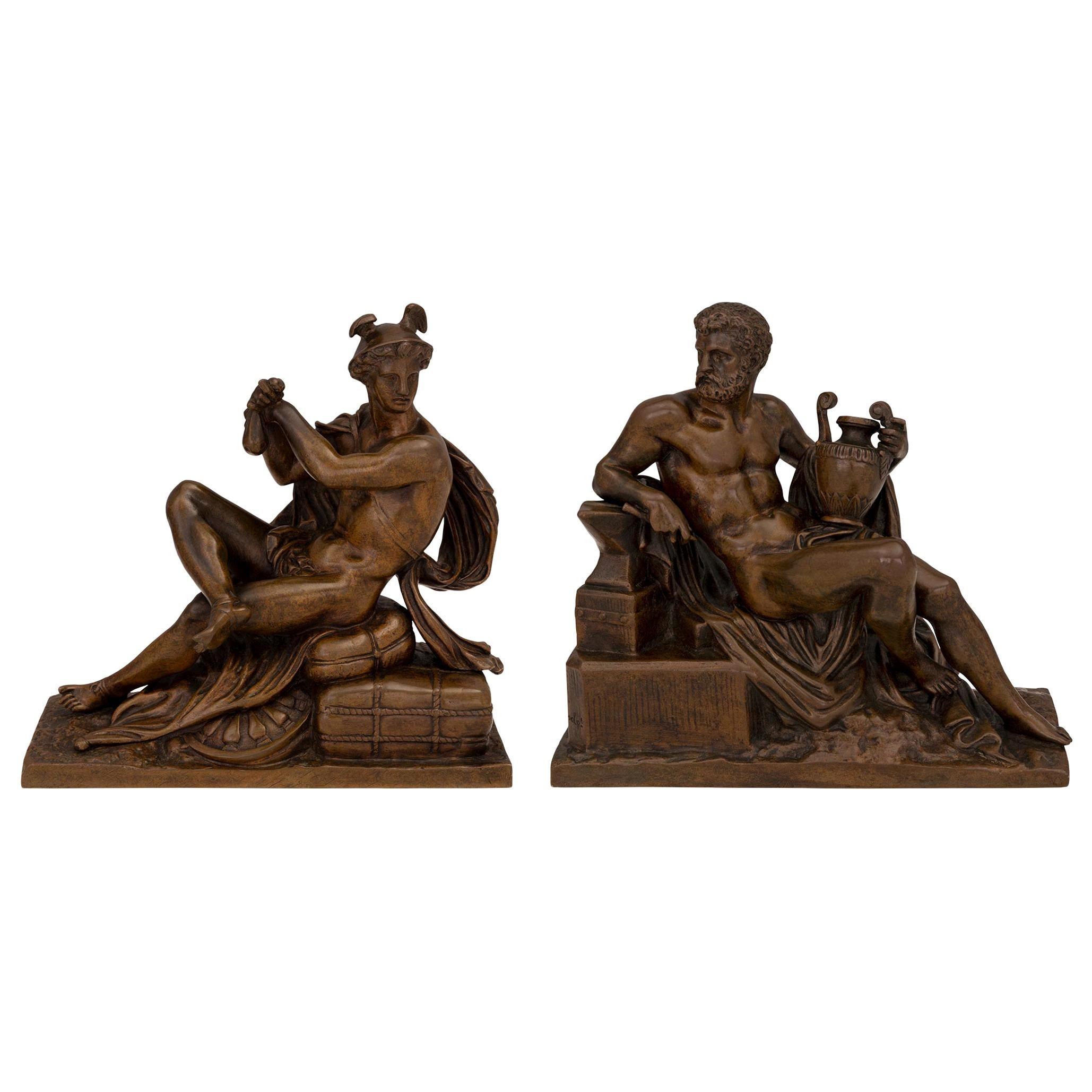 Pair of French 19th Century Neoclassical St. Patinated Bronze Statues