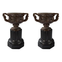Pair of French 19th Century Neoclassical St. Patinated Bronze Warwick Vases
