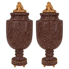 Pair of French 19th Century Neoclassical St. Porphyry and Ormolu Lidded Urns