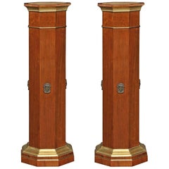 Pair of French 19th Century Neoclassical Style Walnut Octagonal Pedestals