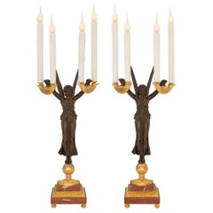 Pair of French 19th Century Neoclassical Style 'Aux Victoires' Candelabra Lamps