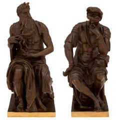 Pair of French 19th Century Neoclassical Style Bronze and Ormolu Statues