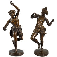 Pair of French 19th Century Neoclassical Style Bronze Statues, Signed Deniere