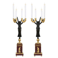 Pair of French 19th Century Neoclassical Style Candelabras Aux Victoires