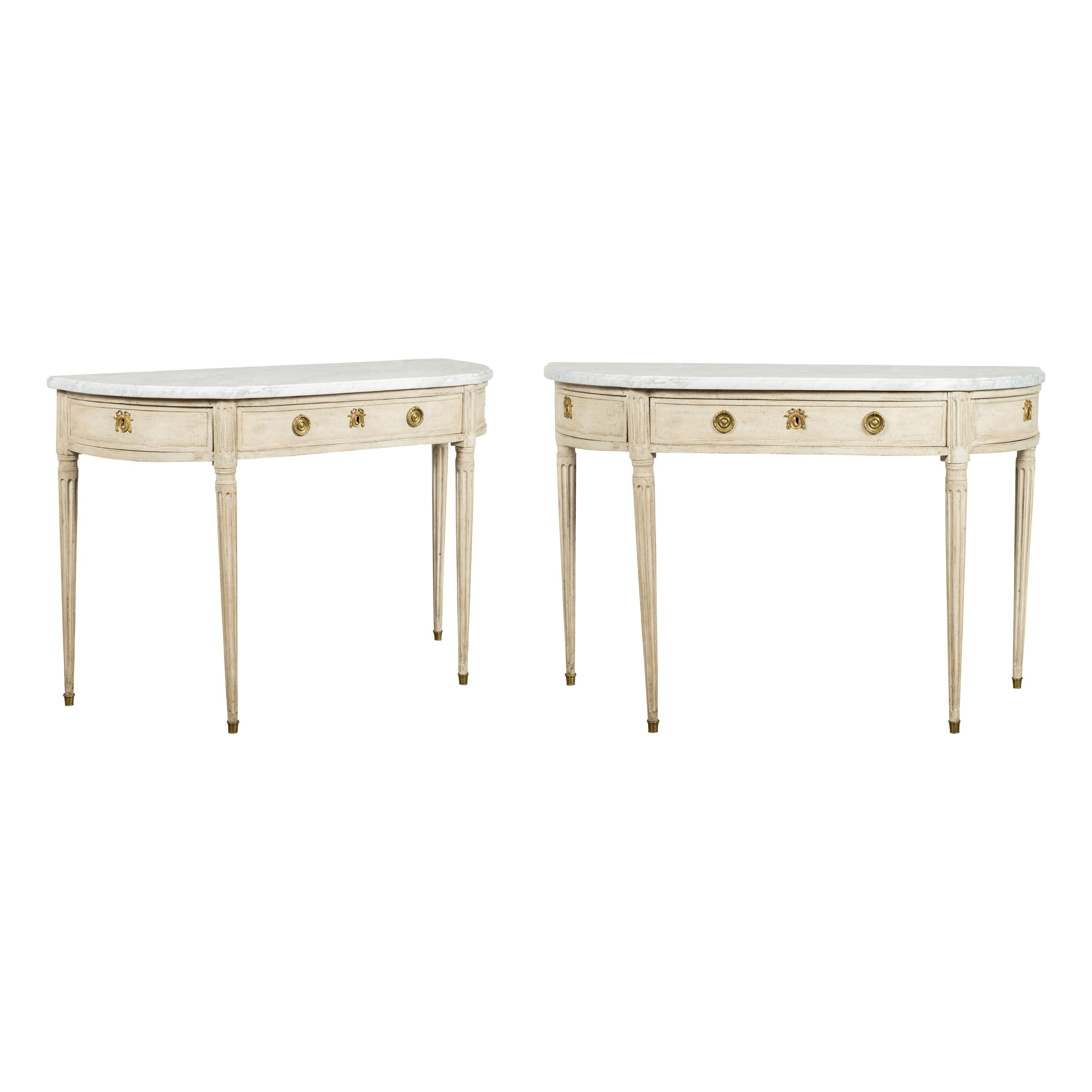 Pair of French 19th Century Neoclassical Style Demilune Tables with Marble Tops