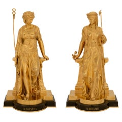 Pair of French 19th Century Neoclassical Style Marble and Ormolu Statues