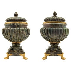Pair of French 19th Century Neoclassical Style Marble and Ormolu Urns