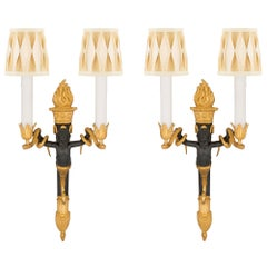 Pair of French 19th Century Neoclassical Style Ormolu and Bronze Sconces