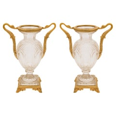Pair of French 19th Century Neoclassical Style Ormolu and Crystal Vases