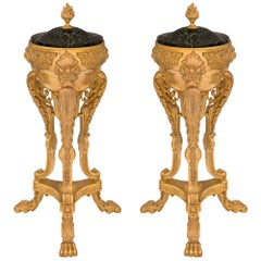 Pair of French 19th Century Neoclassical Style Ormolu and Marble Lidded Urns